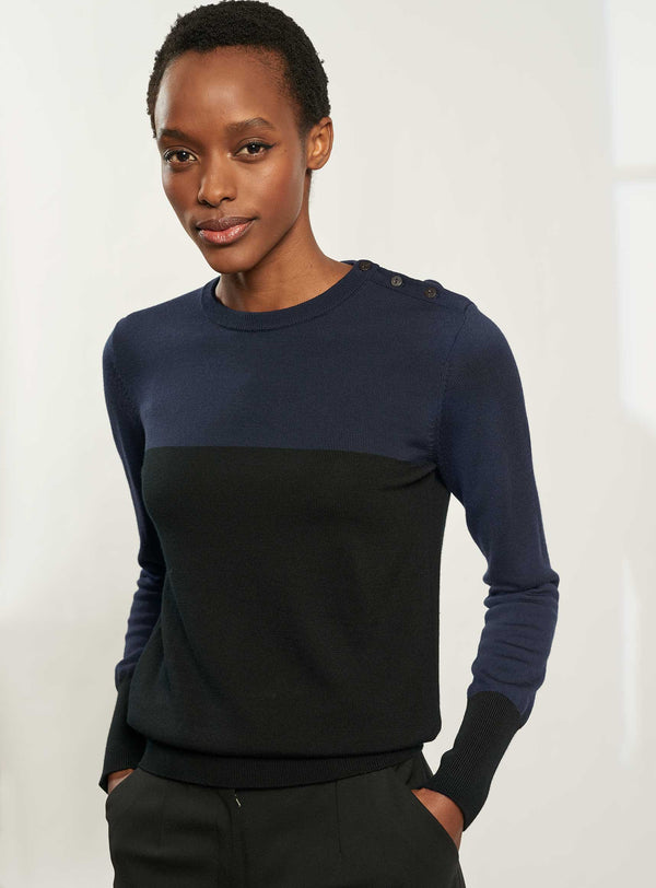 Jenna Colour Block Jumper - Navy/Black