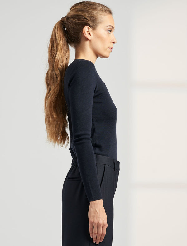Freda Round Neck Jumper - Navy