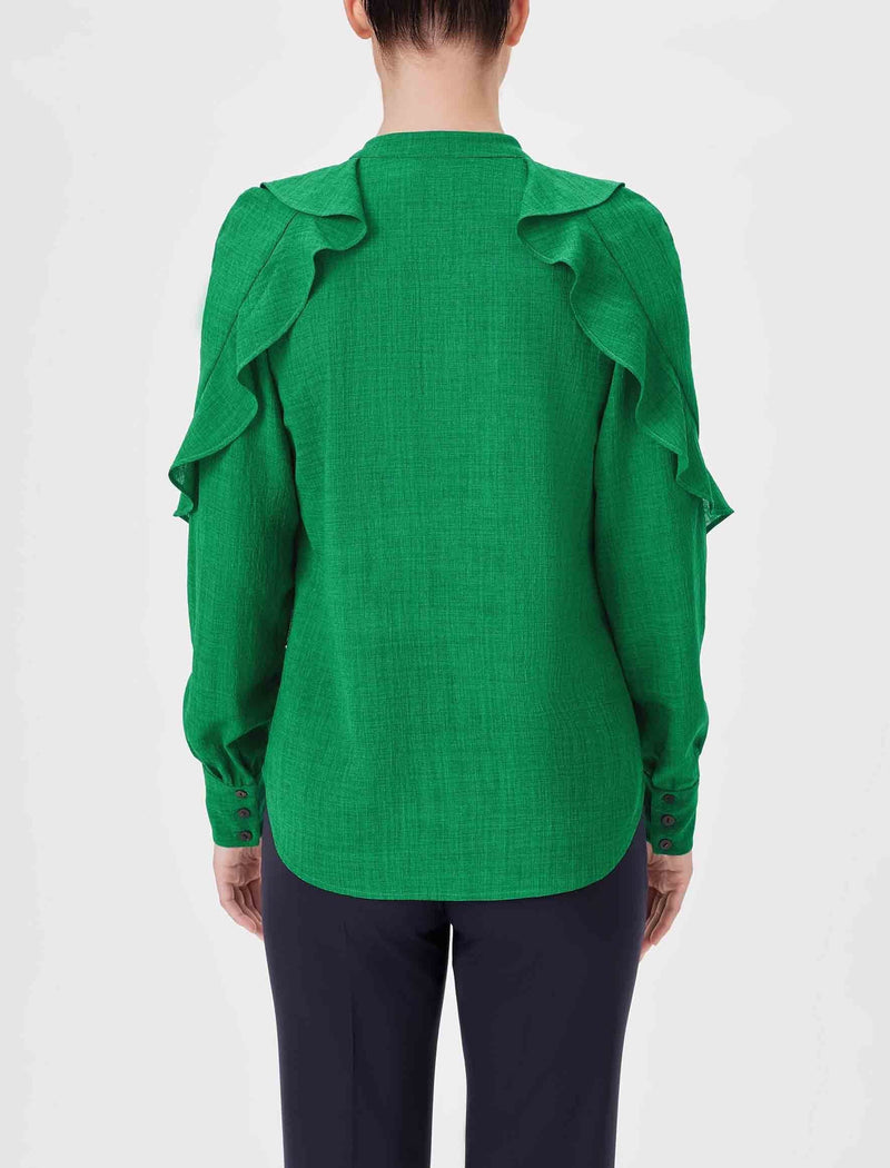 ruffle shirt women emerald green