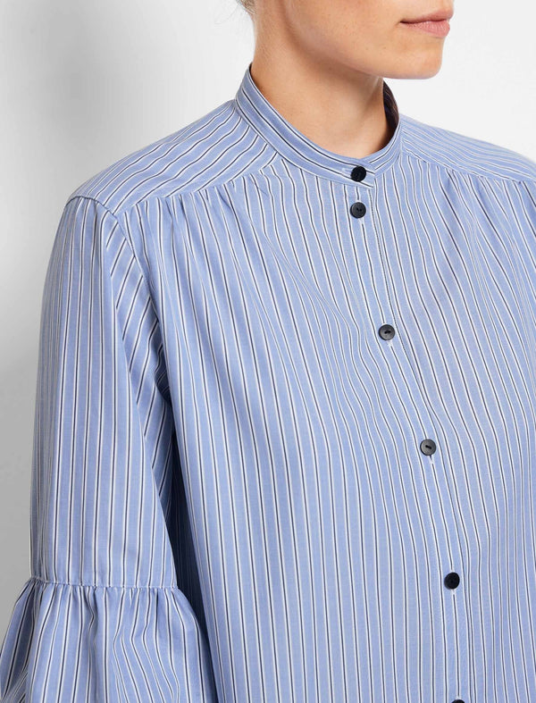 Ella Cotton Gathered Blouson Sleeve Shirt - Blue/White