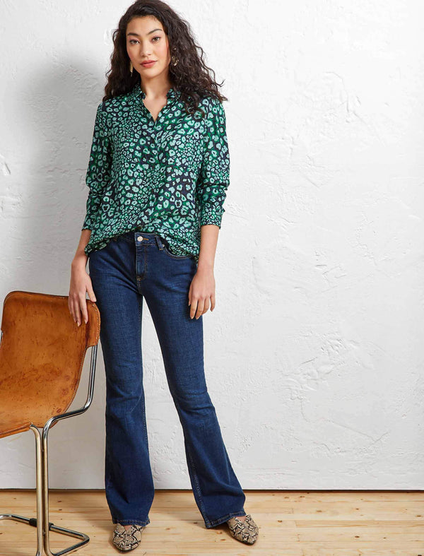 Skyla Long Sleeve Shirt - Mint Leopard Pansy