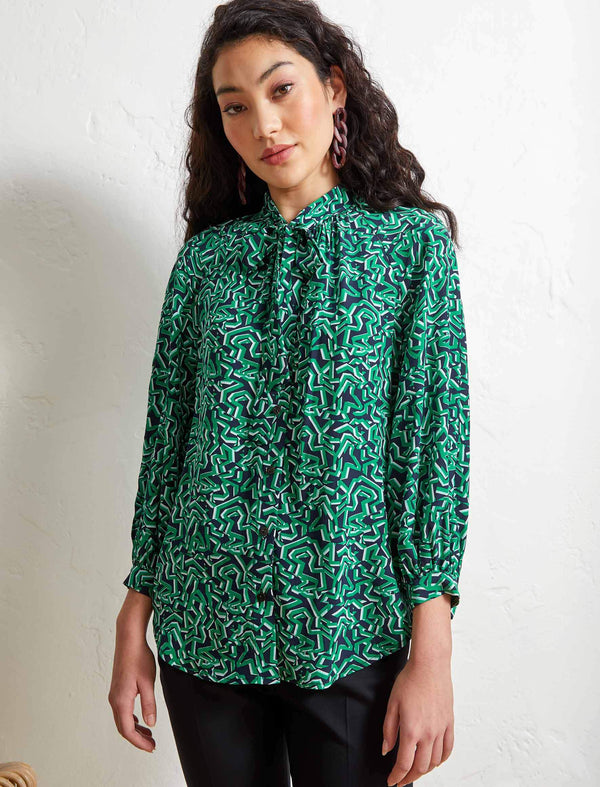 Daria Silk Pussy-Bow Raglan Shirt - Emerald Green Shattered Glass Print