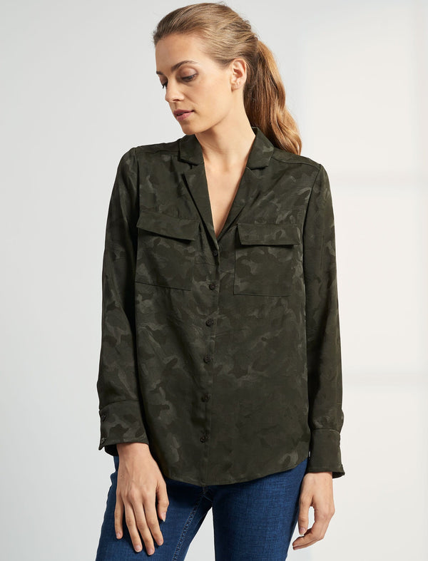Spencer Long Sleeve V Neck Pocket Detail Shirt - Khaki Camo Jacquard