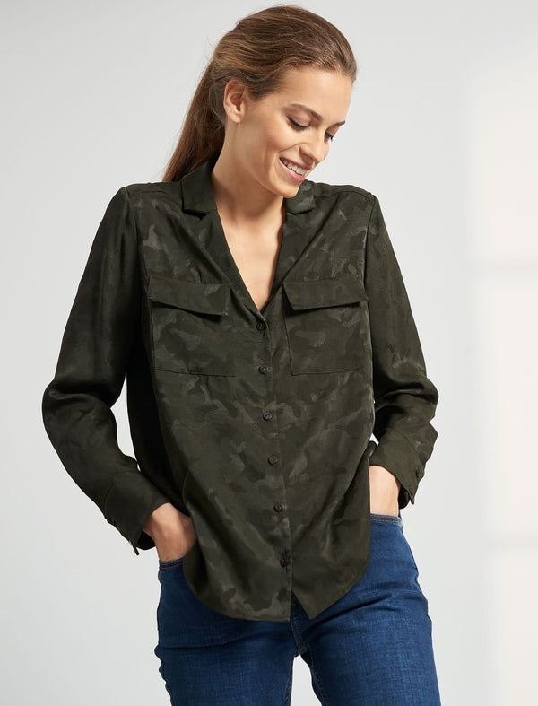 Spencer Long Sleeve V Neck Pocket Detail Shirt - Khaki
