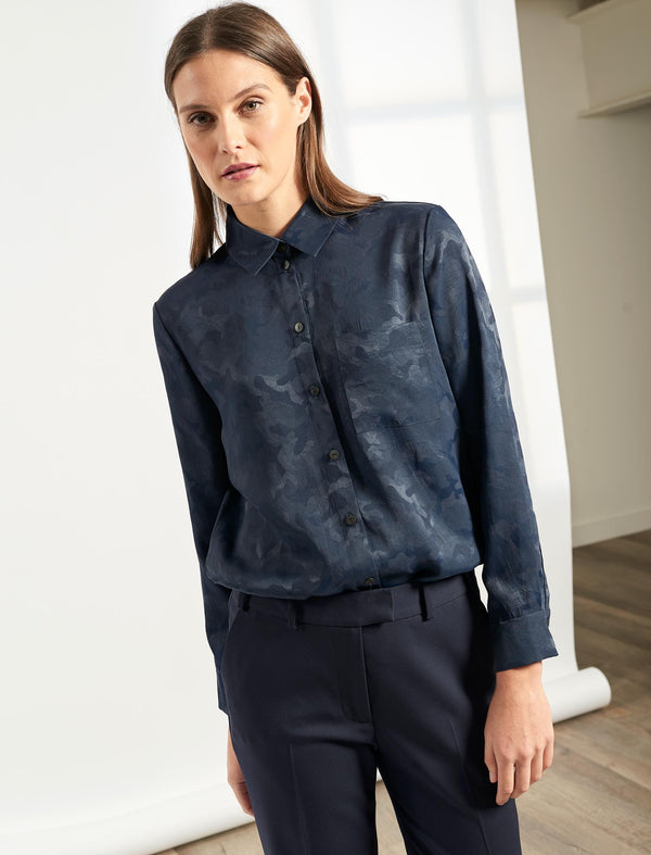 Skyla Long Sleeve Shirt - Navy Camo Jacquard