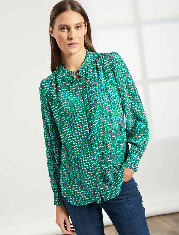 Bailey Collarless Gathered Shirt - Mint Green Circle Geo Print