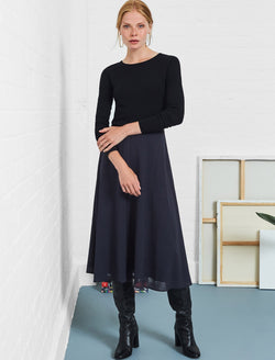 Midi A-Line Skirt With Contrast Piping - Navy
