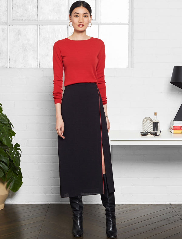 Cleo Split Front Maxi Skirt - Black/Crimson