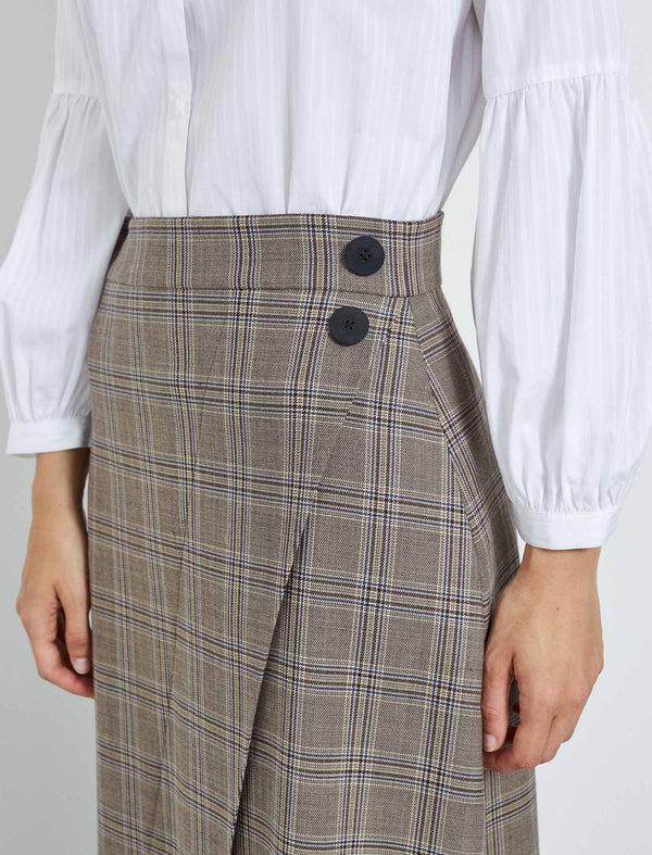 brown check skirt