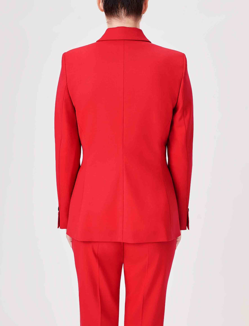 Jamie Stretch Wool Blend Blazer - Crimson