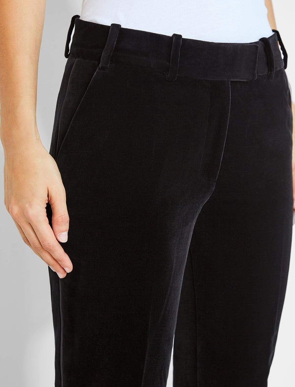 Tatum Velvet Trouser With Piping - Black