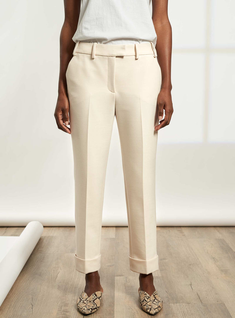 Clement Tailored Turn Up Italian Wool Blend Trousers - Cream