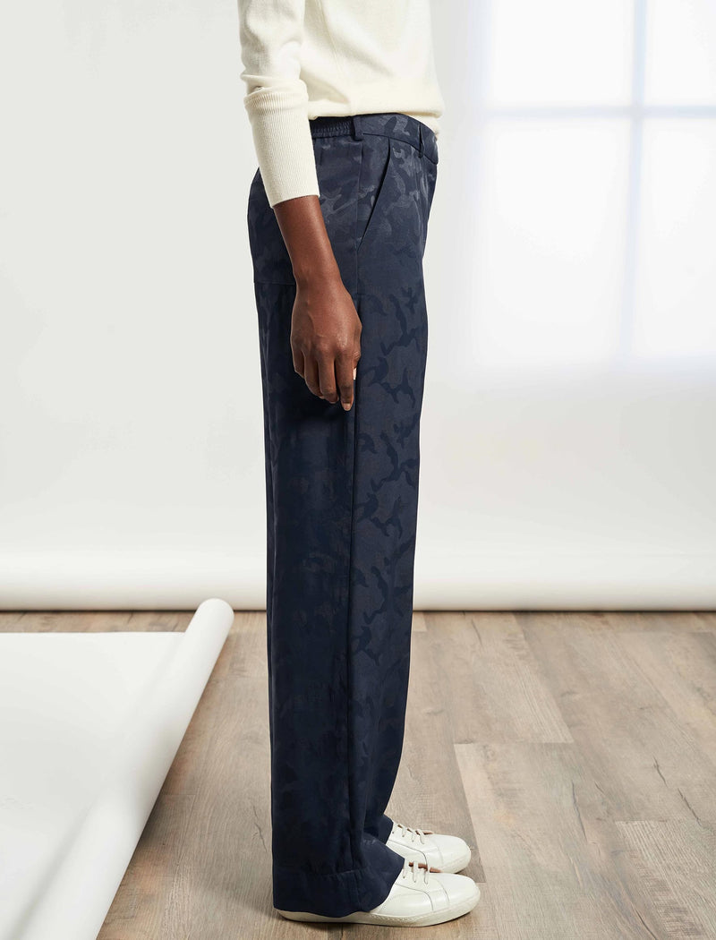 Terence Easy Wide Leg Camo Jacquard Trouser - Navy