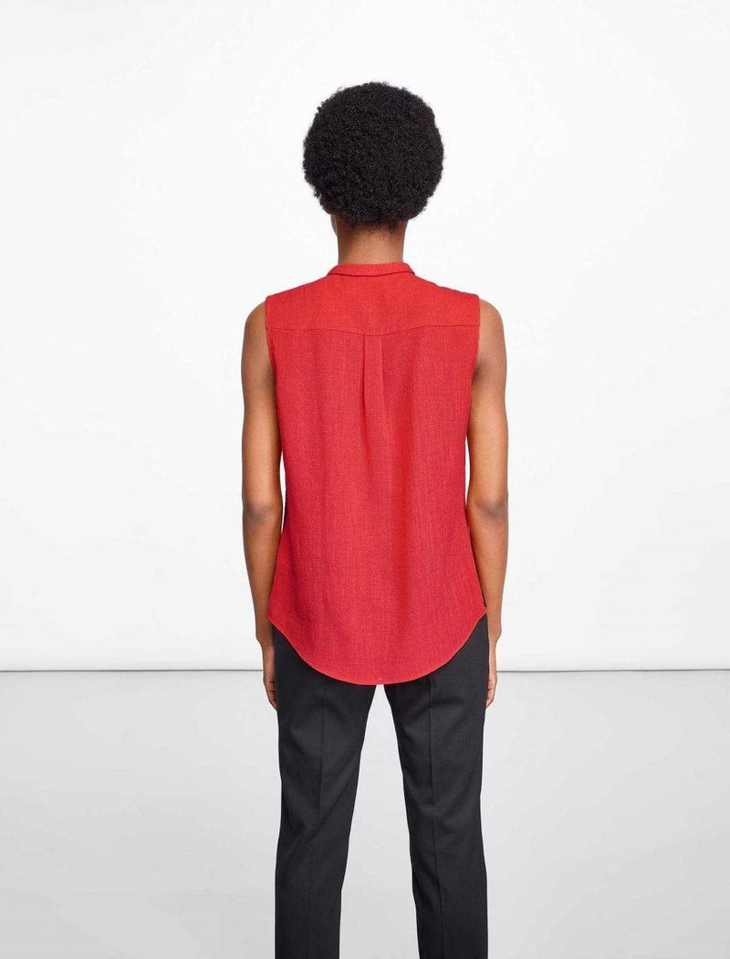 Hailey Sleeveless Shirt With Contrast Piping - Crimson