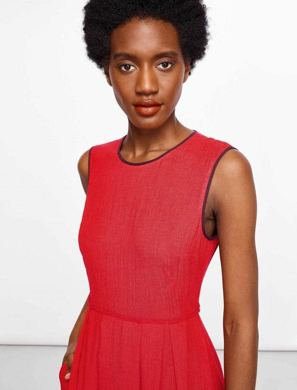 Sleeveless Knee Length Dress - Crimson