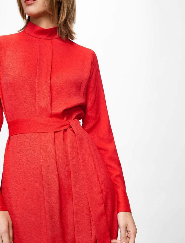 Ellen Funnel Neck Knee Length Dress - Crimson