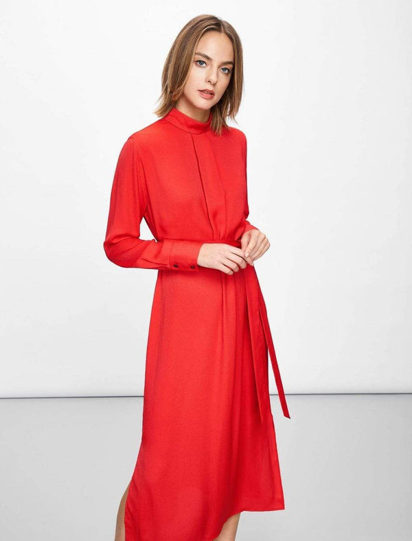 Ellen Funnel Neck Maxi Dress - Crimson