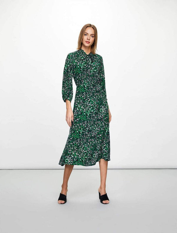 Daria Pussy-Bow Maxi Dress  - Emerald Green Leopard Pansy