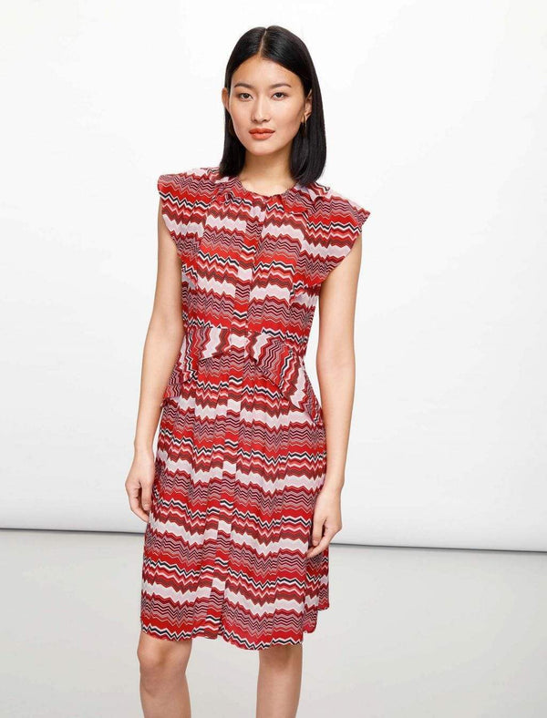Sleeveless Ruffle Shirt Dress - Crimson Chevron