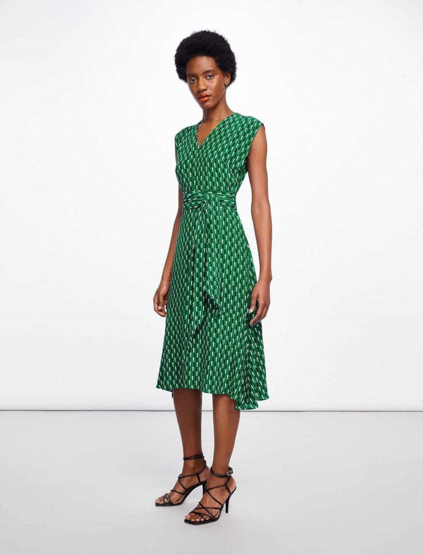 Matilda Dipped Hem Midi Dress - Emerald Geo Print