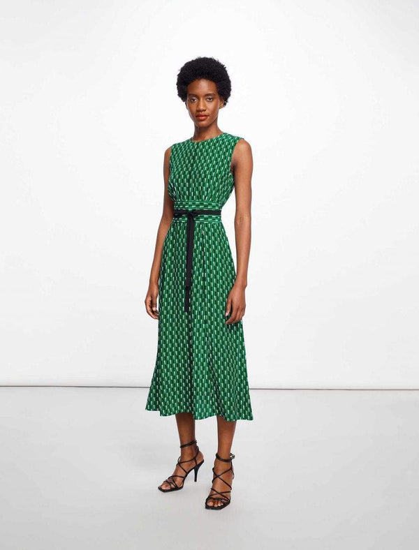 Rosie Sleeveless Maxi Dress - Emerald Geo Print