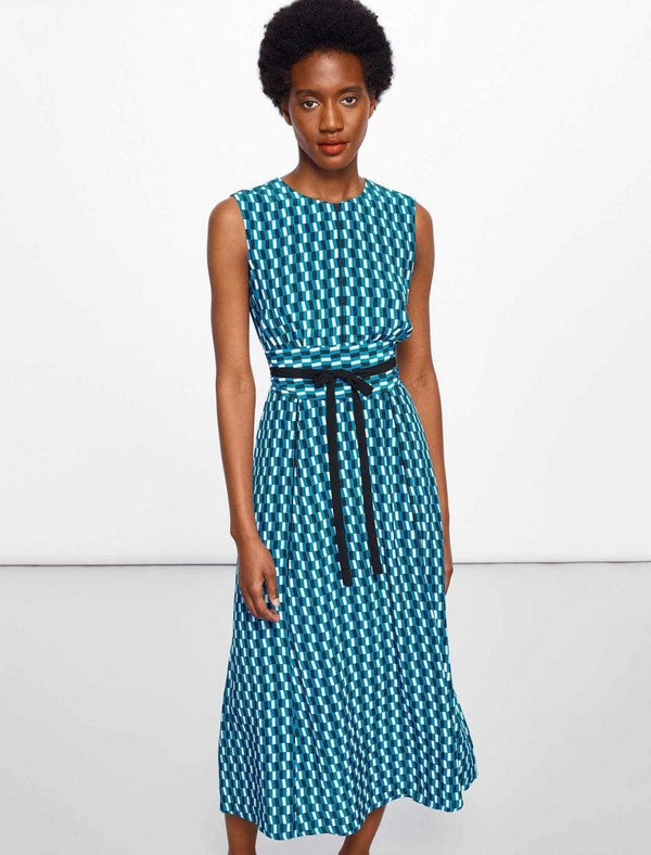 Rosie Sleeveless Maxi Dress - Turquoise Geo Print