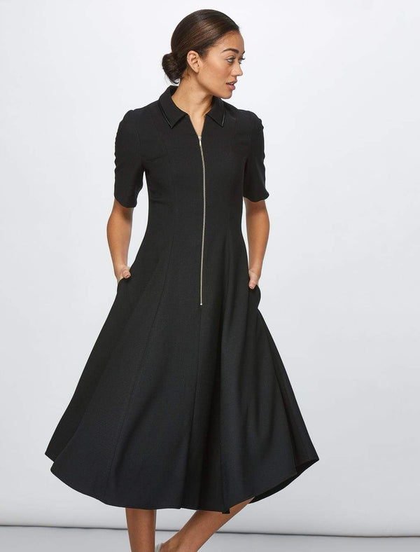 Half Sleeve Zip Collar Midi Dress - Black