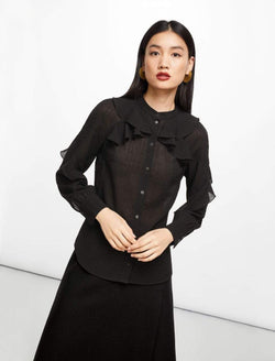 Ava Ruffle Shirt - Black