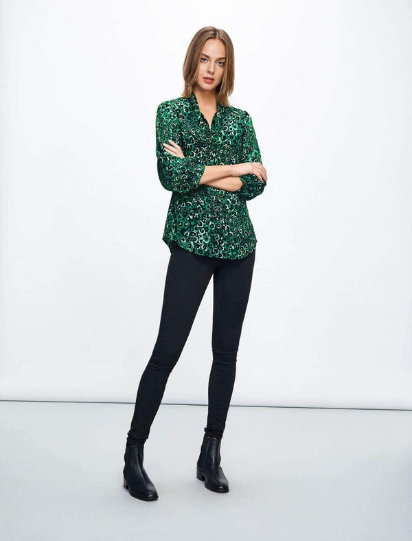 Willow Pussy-Bow Shirt - Emerald Green Leopard Pansy