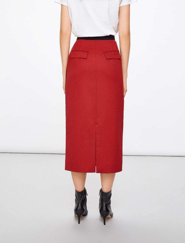 Sadie Contrast Panel Pencil Skirt - Brick Red