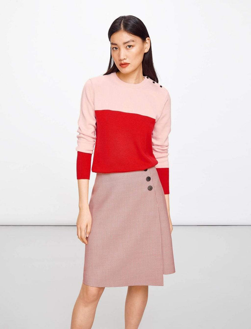 Flap Front A-Line Skirt - Pink Houndstooth | Pink A Line Skirt | Wool A-Line Skirts | Houndstooth A Line Skirt