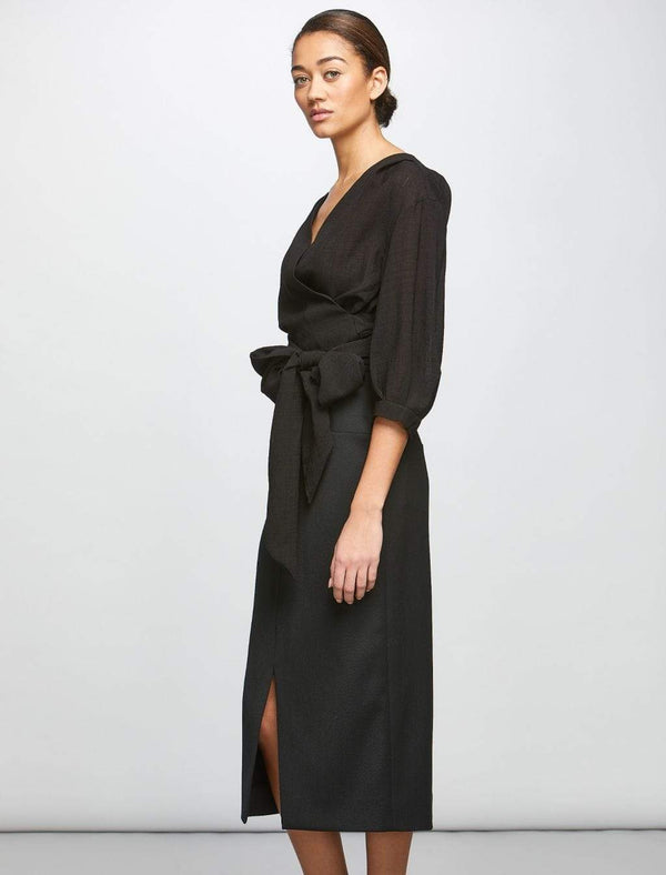 Belted Wrap Top - Black | Black Wrap Top | Black Belted Tops
