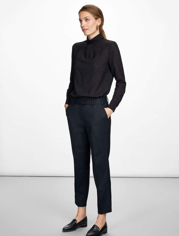 Tatum Stripe Stretch Wool Blend Trouser - Navy