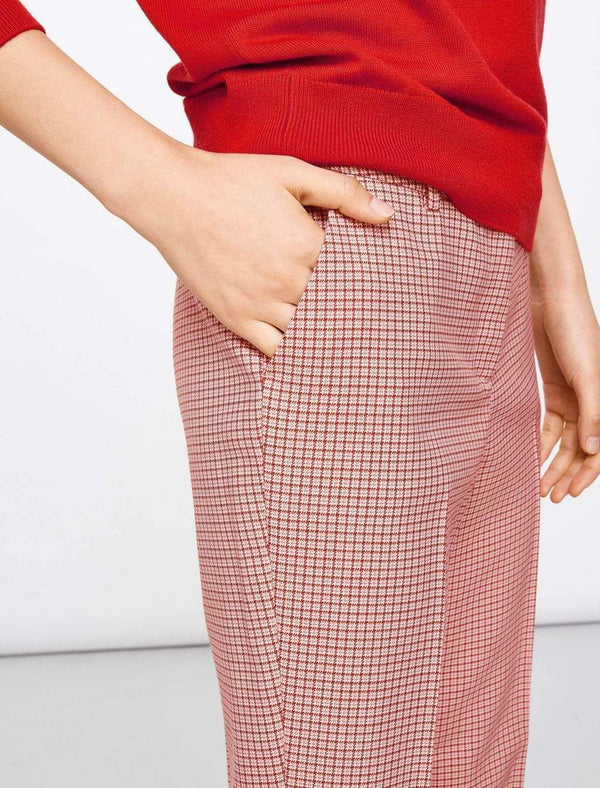 Tatum Houndstooth Wool Blend Trousers - Pink Houndstooth