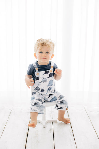 Walkiddy - Salopette a pantaloncino Blue Whale