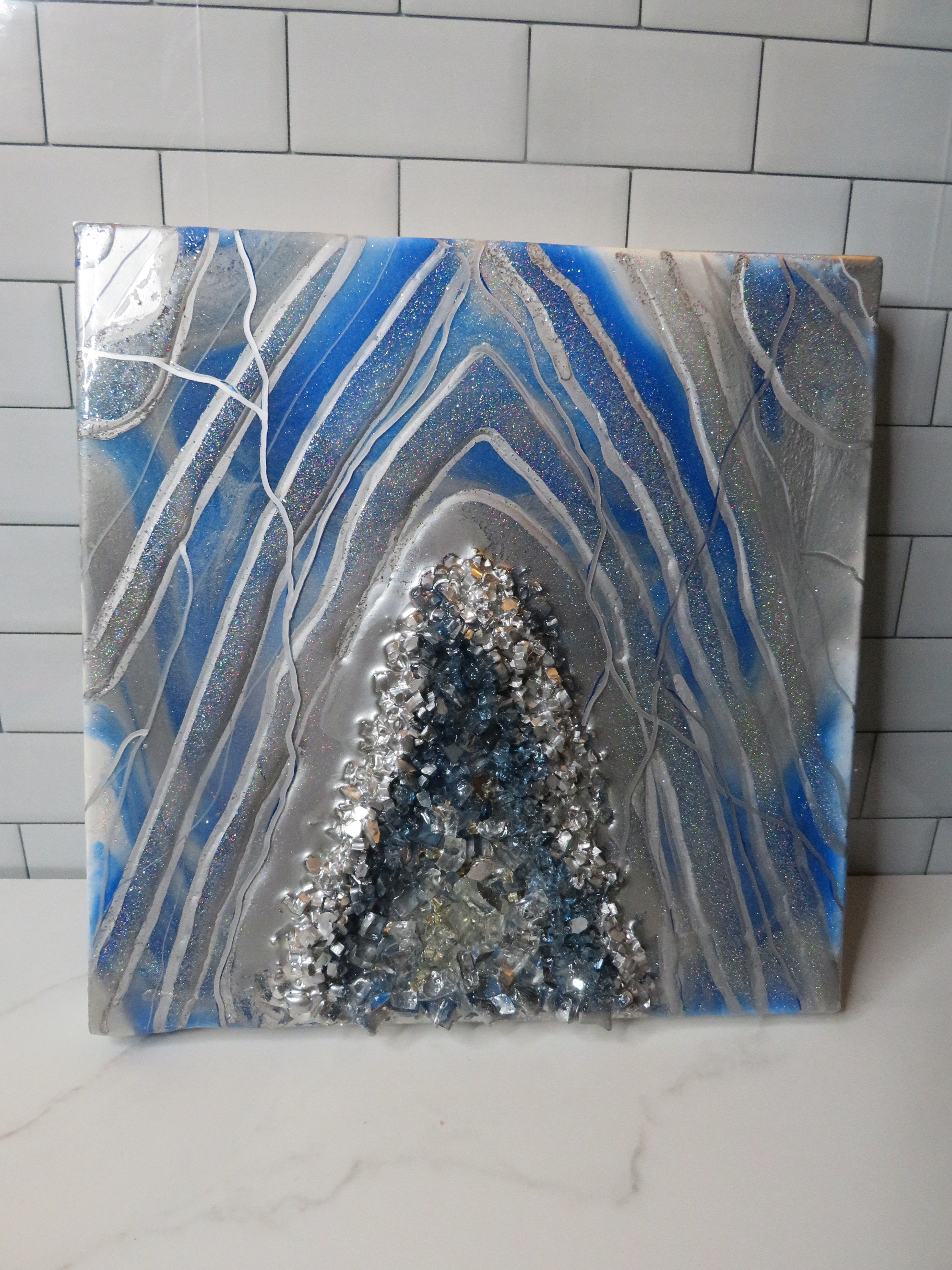 Blue and Silver Geode
