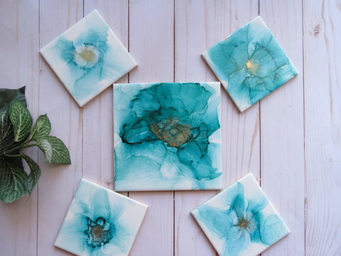 Teal Ceramic Coasters