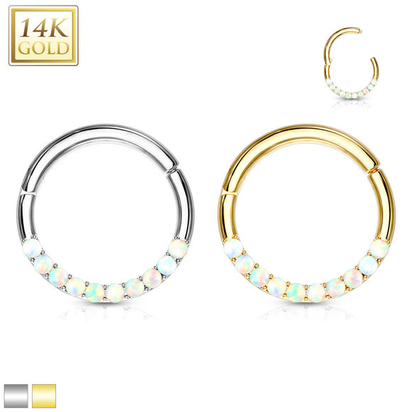Gold 14CT OPAL Hinged Ring 16ga 8mm