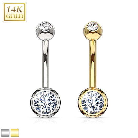 Gold 14ct Navel Ring Double Gemmed CZ 14ga 10mm