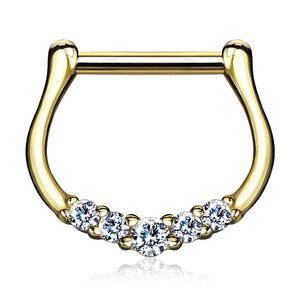 Gold 14ct Septum Clickers Five Paved CZ 16ga