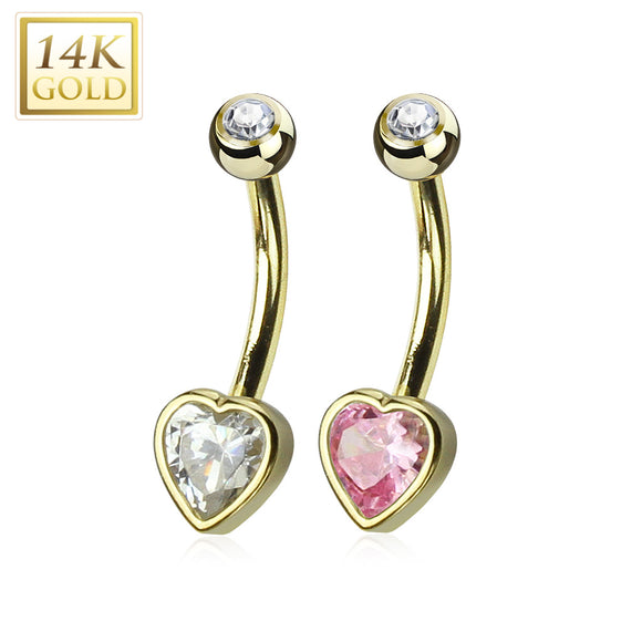 Gold 14ct Navel Ring Bezel Set Heart CZ 14ga 10mm