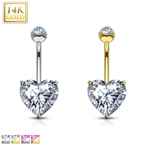 Gold 14ct Navel Ring with Heart Cut CZ Prong Set 14ga 10mm