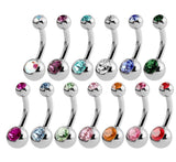 Surgical Steel Belly Bar with Coloured Stone 14ga 10mm