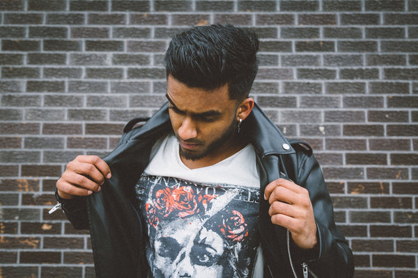how to wear a statement t-shirt with leather jacket