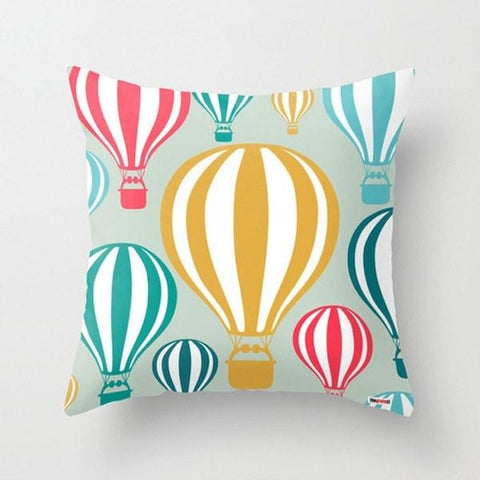 hot air balloon kids throw pillow