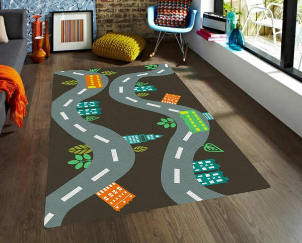 Image showing road map rug in kids bedroom