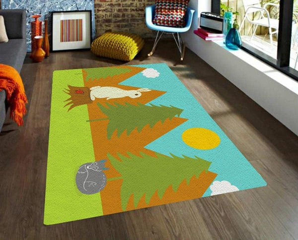 nursery area rug forest design
