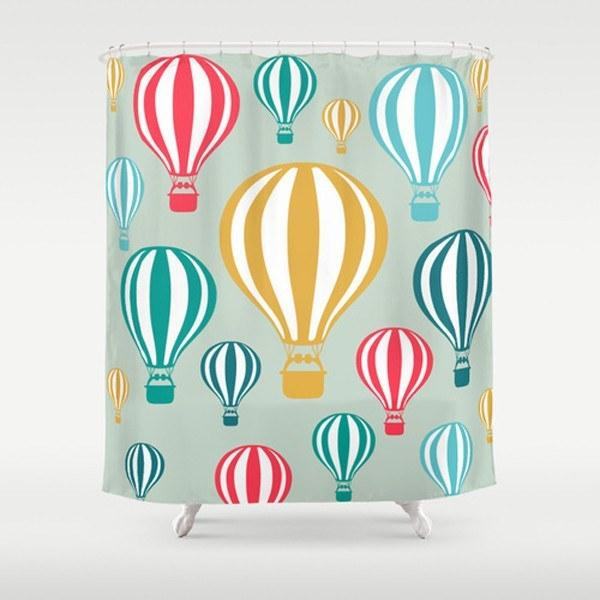 colorful shower curtain with hot air balloons