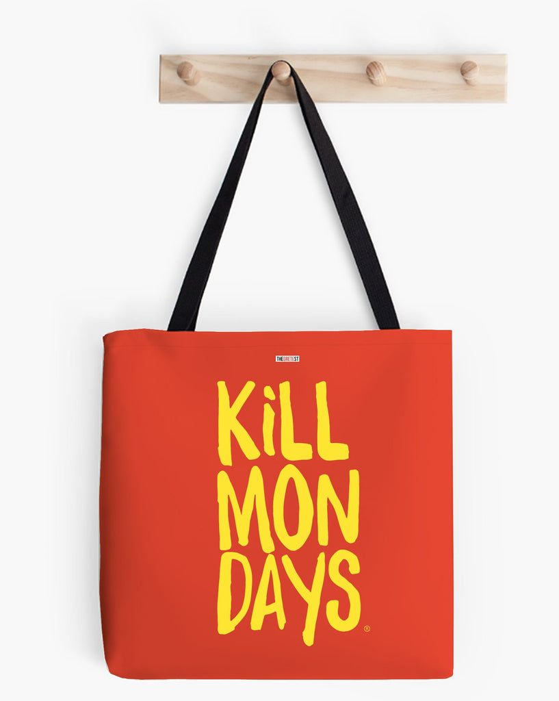kill mondays tote bag red and yellow