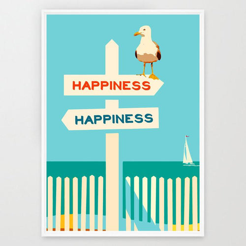 Beach theme Art Print - happiness art Print